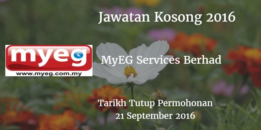 Jawatan Kosong MyEG Services Berhad 21 September 2016