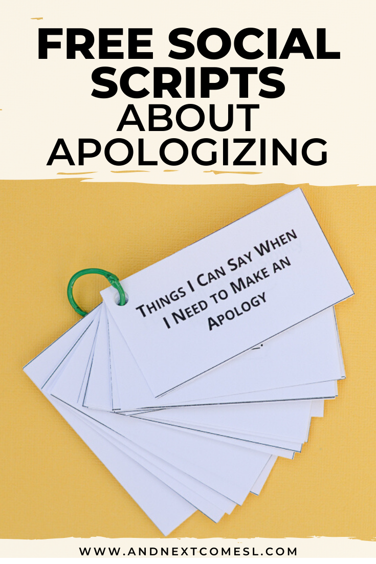 Free social scripts for autism about saying sorry and what to say when apologizing