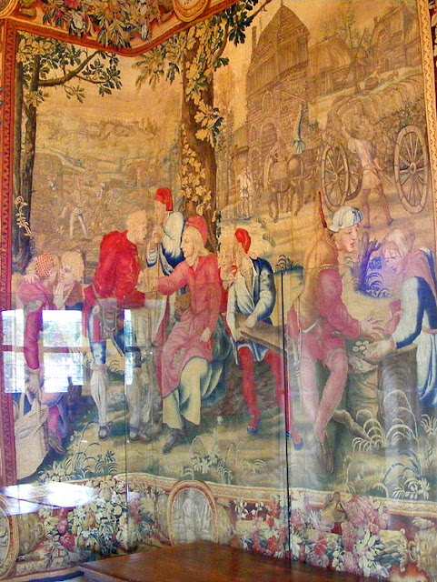 Detail of the Months of Lucas tapestry for August, Chateau of Chenonceau. Indre et Loire. France. Photo by Loire Valley Time Travel.