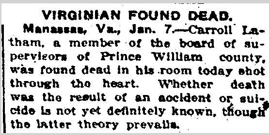 Prince William County Genealogy: Sunday's Obituary: Latham