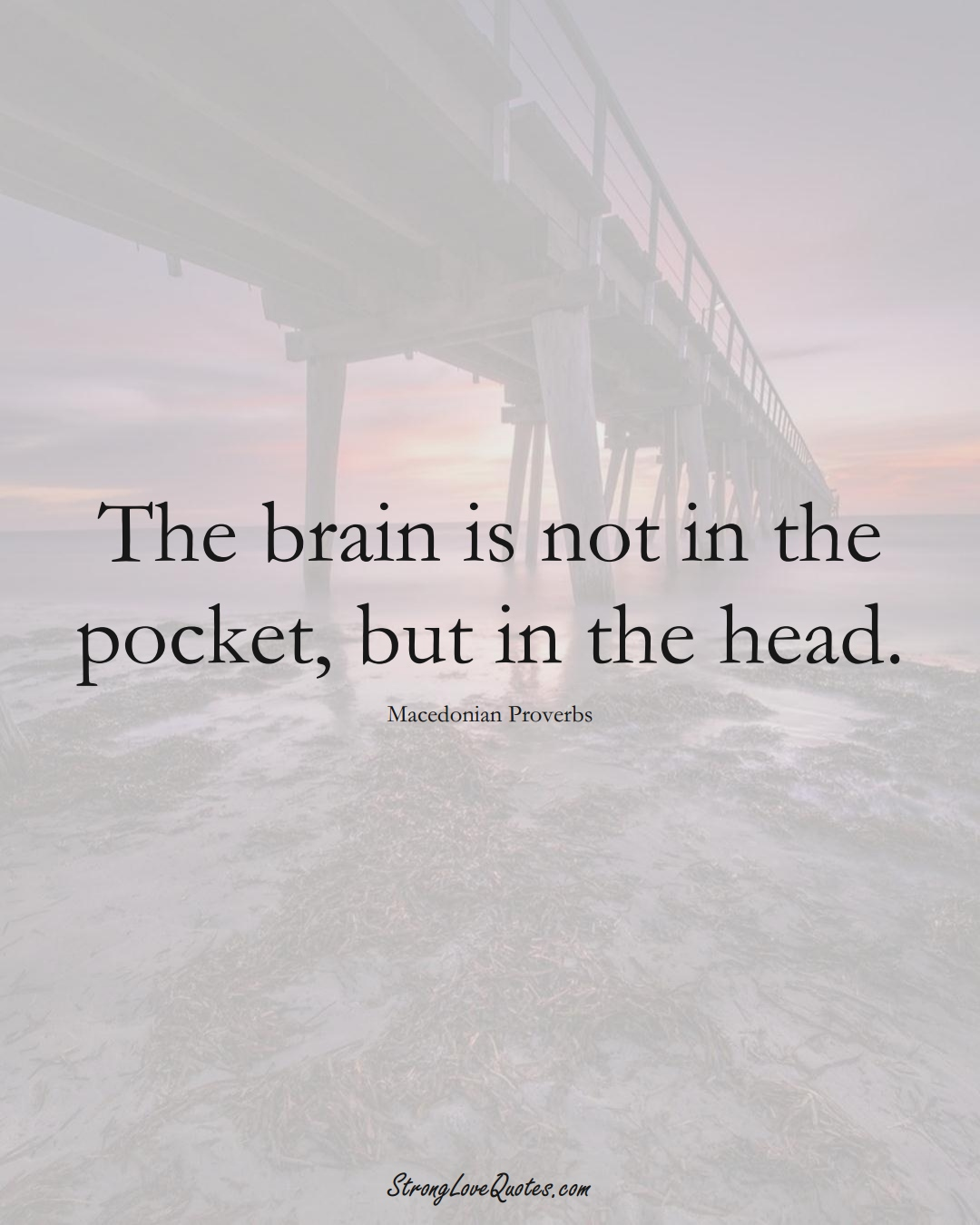 The brain is not in the pocket, but in the head. (Macedonian Sayings);  #EuropeanSayings