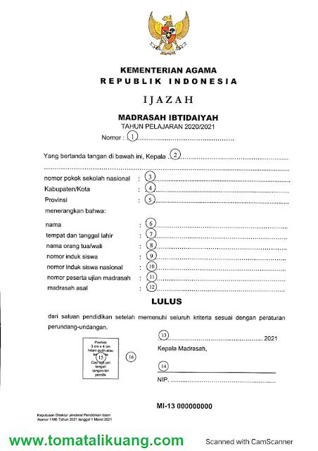 blangko ijazah madrasah ibtidaiyah mi tahun 2021 tomatalikuang.com