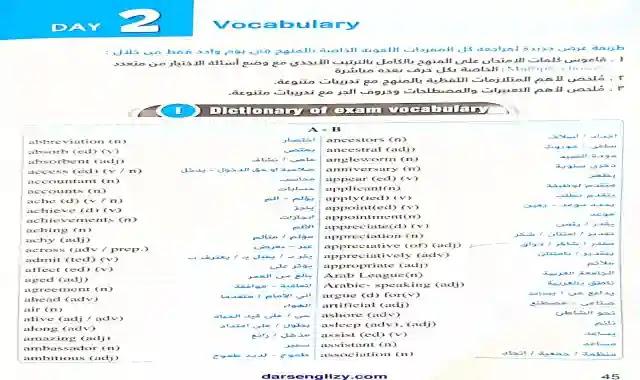 قاموس جميع كلمات اللغة الانجليزية للصف الثالث الثانوى مرتبة ابجديا فى 13 صفحة فقط هدية من كتاب المعاصر