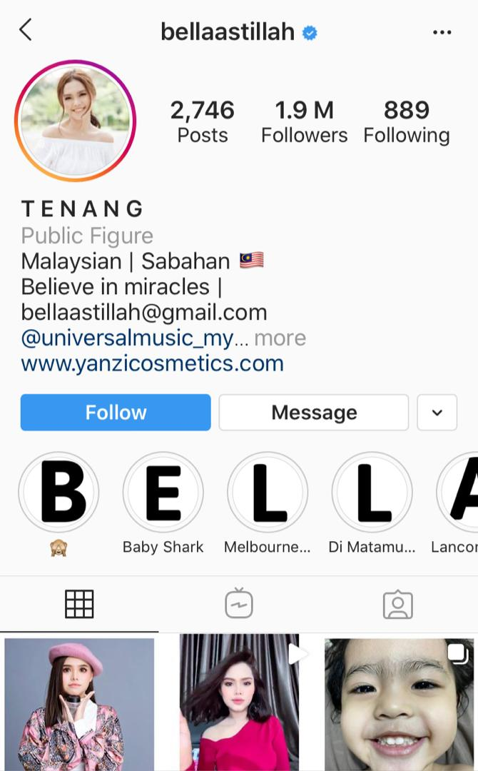 Bella Astillah Instagram profile