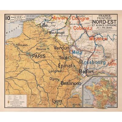 Carte scolaire Vidal Lablache N°10, France-Frontières nord-est et Alsace Lorraine (malgré leur perte en 1870…), entre 1871 et 1914 (collection anciennes cartes scolaires)