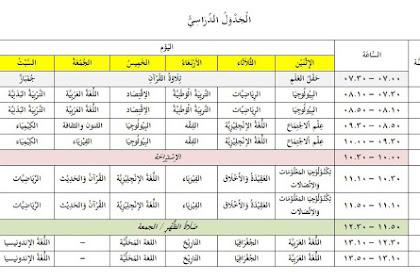 Contoh Jadwal Pelajaran dalam Bahasa Arab