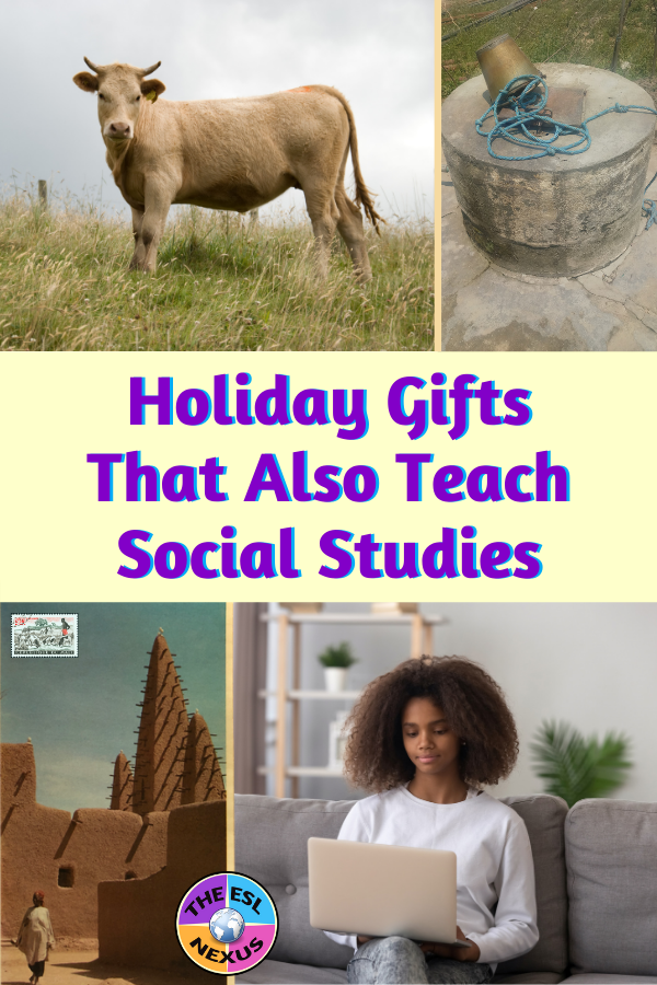 Use ideas from aid organizations' gift catalogs that help people in need, then teach your students about the country their gift came from.