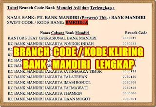 branch code bank mandiri lengkap - kanalmu