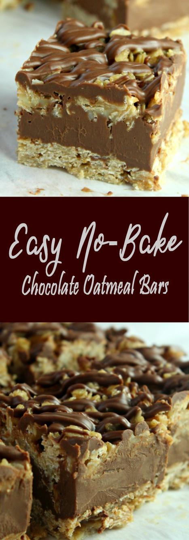 Recipe Easy No-Bake Chocolate Oatmeal Bars #bars #cookies