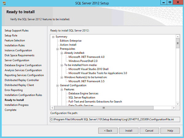 verify and install SQL Server features