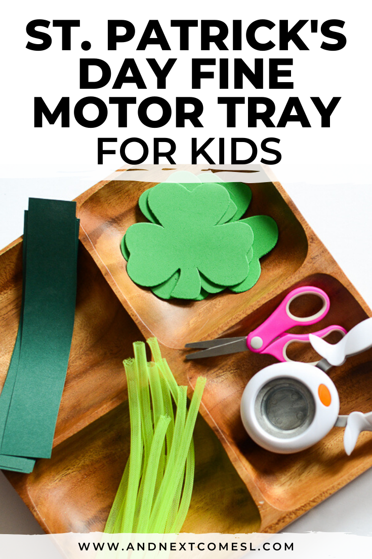 St. Patrick's Day fine motor and scissor skills activity tray for toddlers and preschoolers
