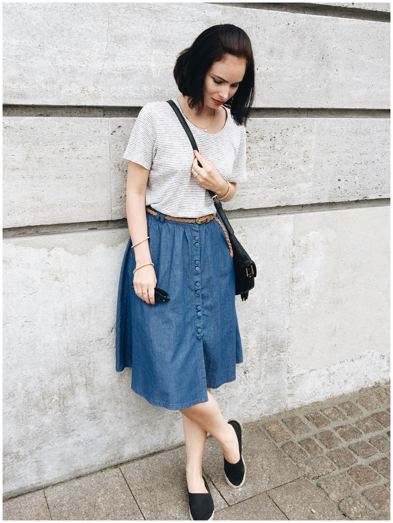 SUMMER SOLSTICE | June Gold wearing Zara denim skirt and & Other Stories striped shirt
