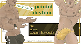 https://ballbustingboys.blogspot.com/2019/09/painful-playtime-kit-meets-logan-and.html