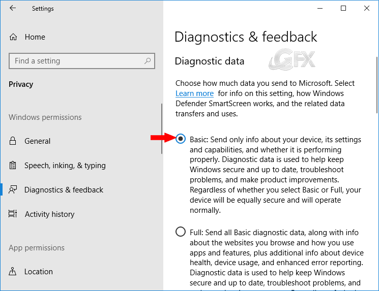 Diagnostics and Feedback Windows 10 Spring Creators Update-www.ceofix.net