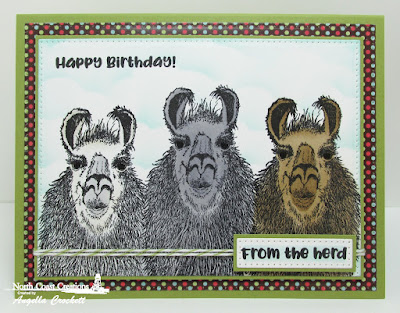North Coast Creations Stamp Set: Llama Tell You,Paper Collection: Sweet Shoppe, ODBD Custom Dies: Pierced Rectangles, Clouds and Raindrops