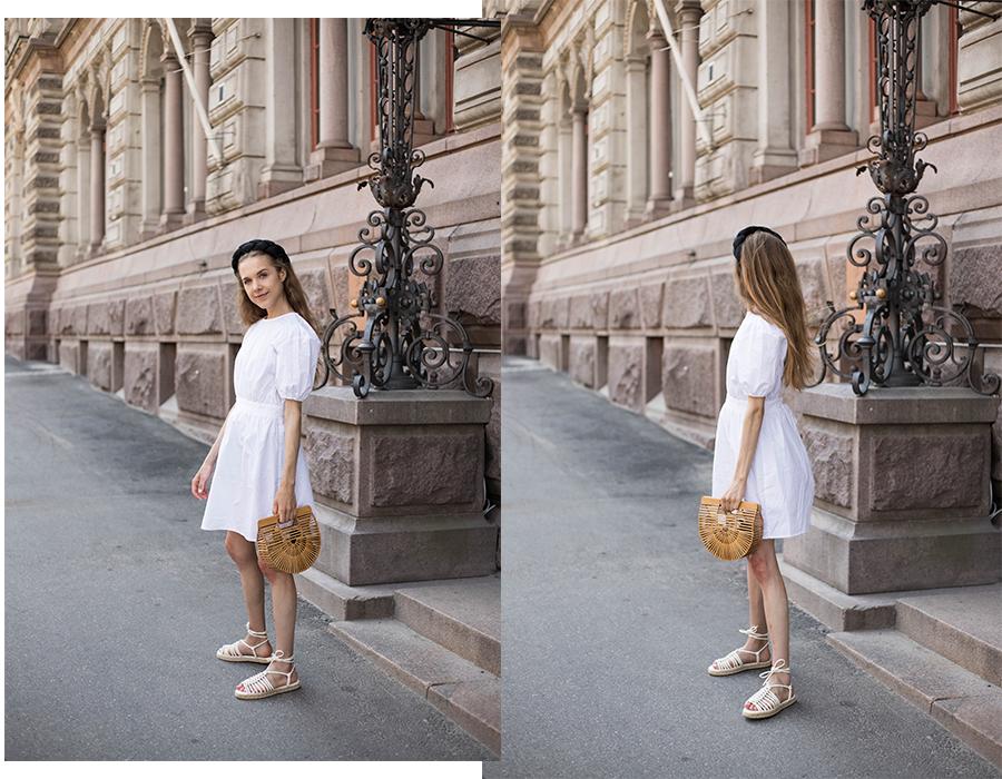 Kesäasu valkoisen mekon kanssa // Summer outfit with a white dress