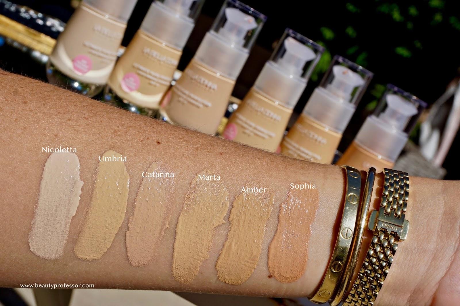 La Bella Donna New Ultimate Pure Perfection Liquid Treatment Foundation swatches