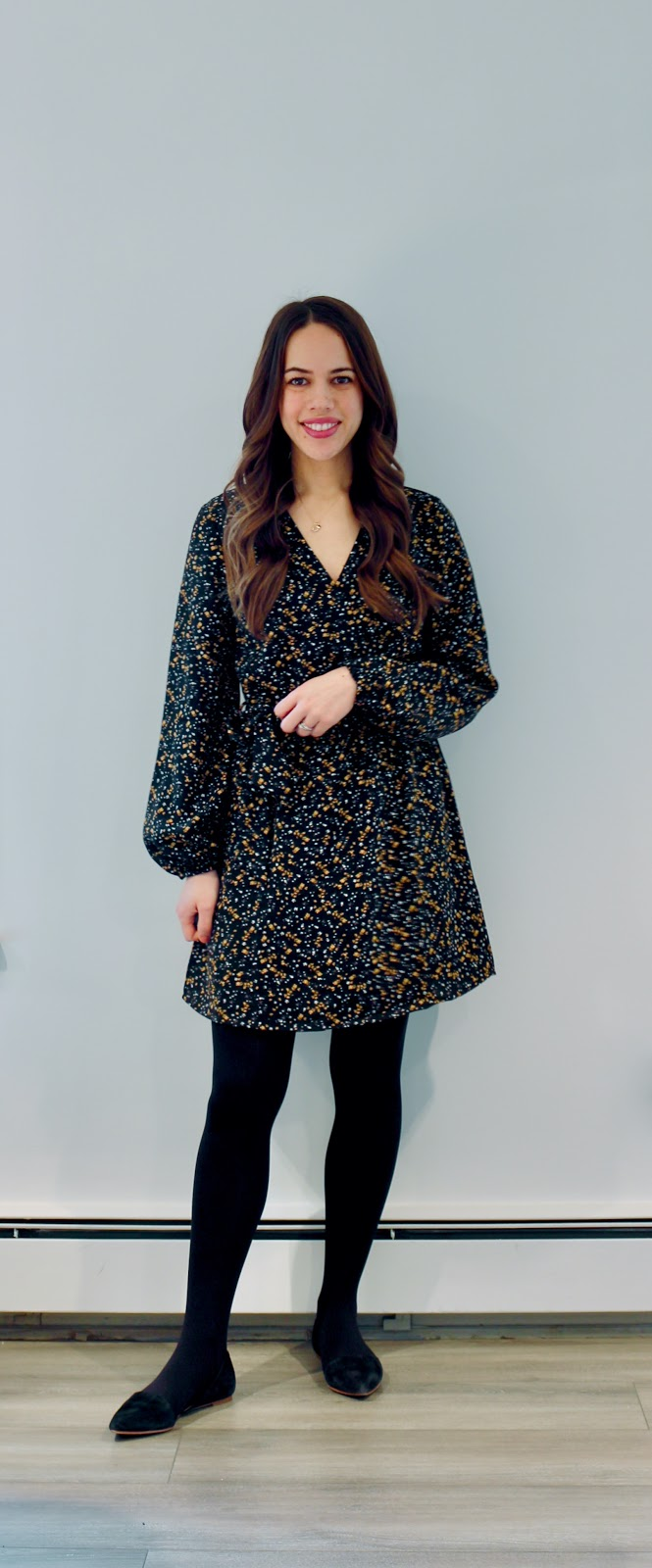 Jules in Flats - Dynamite Blaire Wrap Dress (Business Casual Winter Workwear on a Budget)