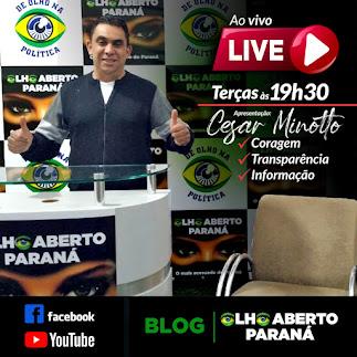 Live Olho Aberto  (terça-feira as 19 horas e 30 minutos )