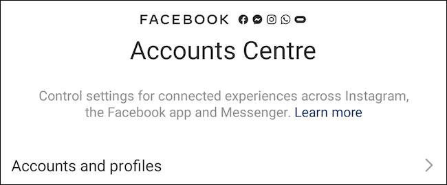 مركز حسابات Facebook على Instagram
