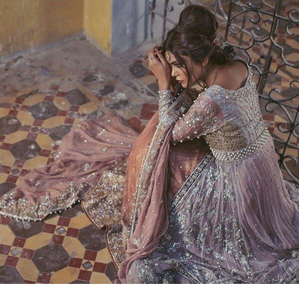 Pure French silk net Pakistani bridal lehnga Panache by Umsha US UK andCanada