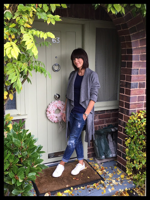 My Midlife Fashion, Zara Wool Coat, Kettlewell Crew Neck, Zara distressed denim boyfriend jeans, Bella Jane Jewellery charm bracelets, Mango white leather trainers