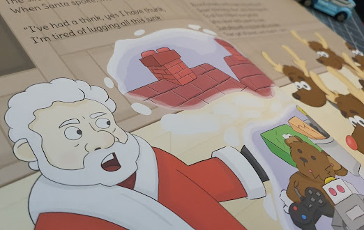 inside page illustration with Santa and reindeer