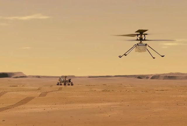 Dron volando sobre la superficie de Marte