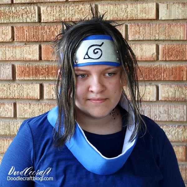 Make the perfect Naruto Hidden Leaf Village Ninja Headband for costume or cosplay. Teen dressed as Sasuke for comic convention or Halloween costume.