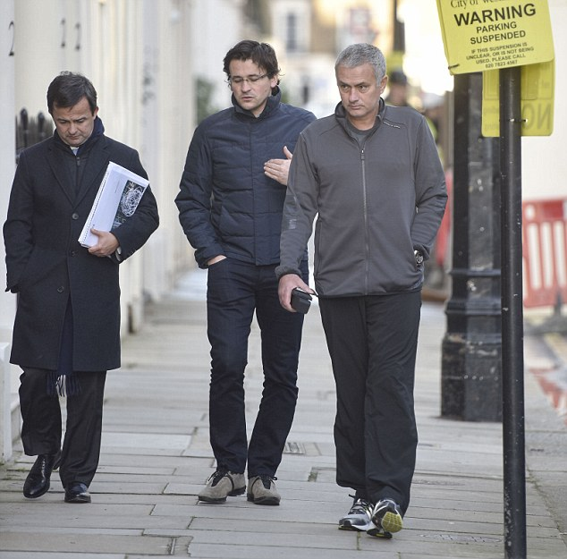 Jose Mourinho (right) was pictured in London on Thursday alongside long-time lieutenant Rui Faria (centre)