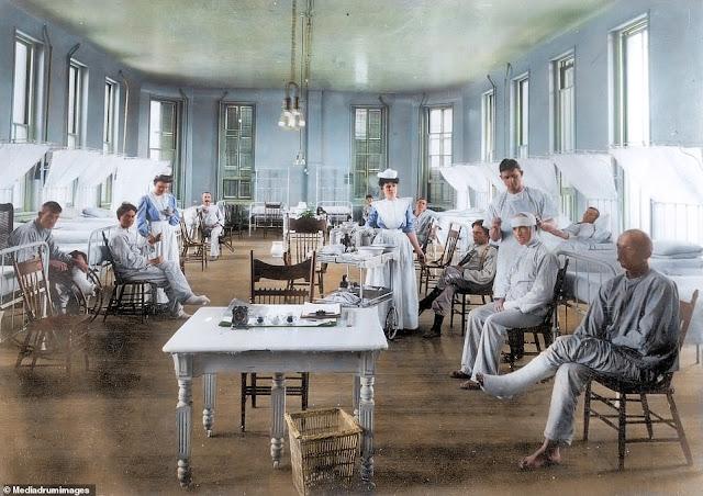 Illustrazioni fotografiche di come l'influenza spagnola è stata combattuta 100 anni fa