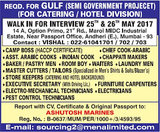 Semi Govt catering project jobs in Gulf