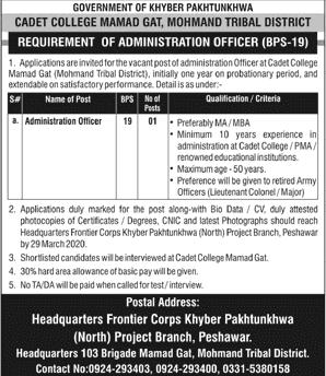 Jobs in Headquarters Frontier Corps KPK Latest 2020