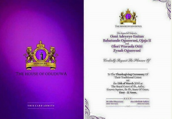 Pics Guys See Ooni Of Ifes Wedding Invitation Details Set To