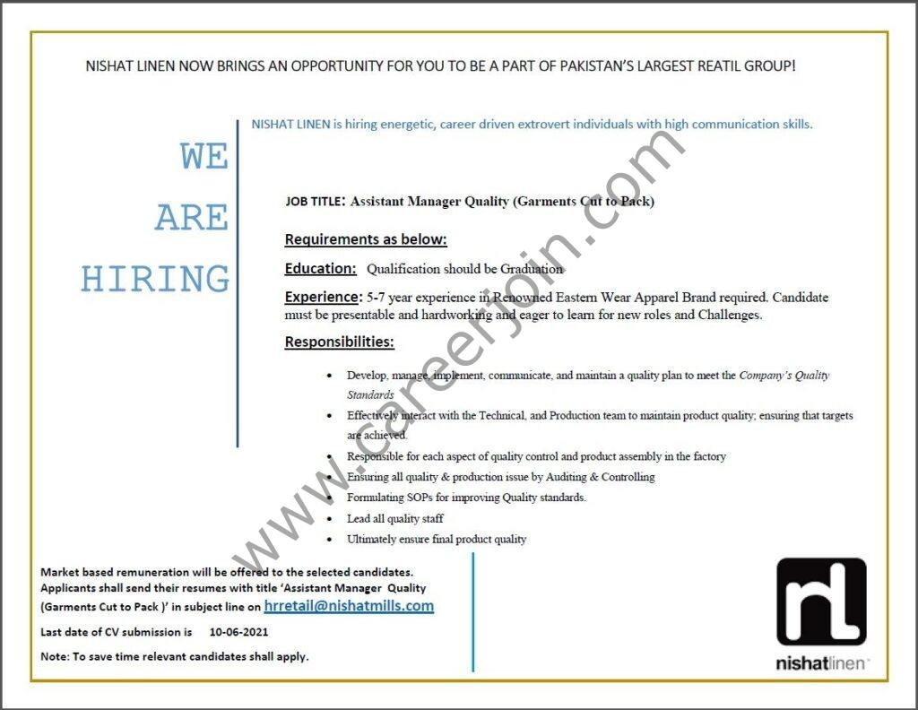 Nishat Linen NL Jobs 2021 in Pakistan