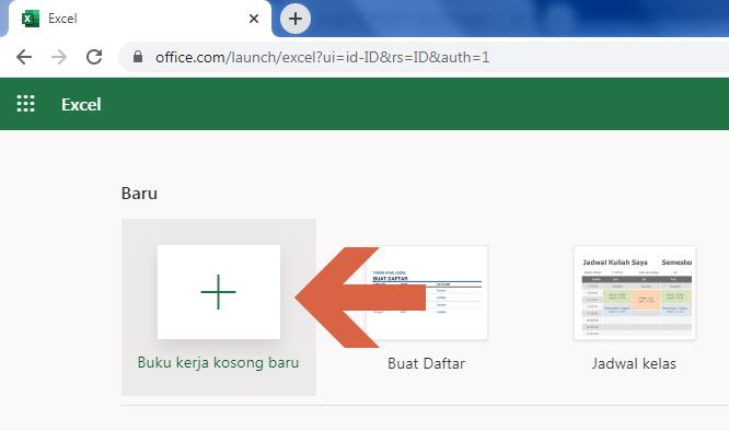 Excel Online buku kerja baru