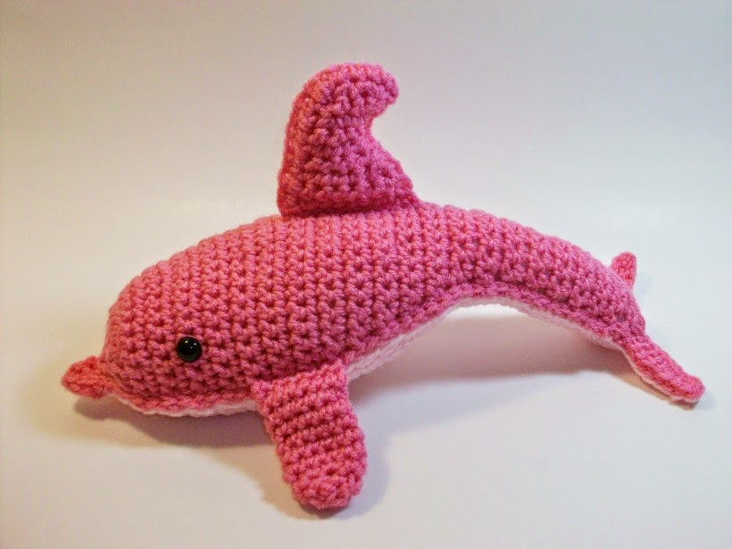 Rare pink dolphin in crochet