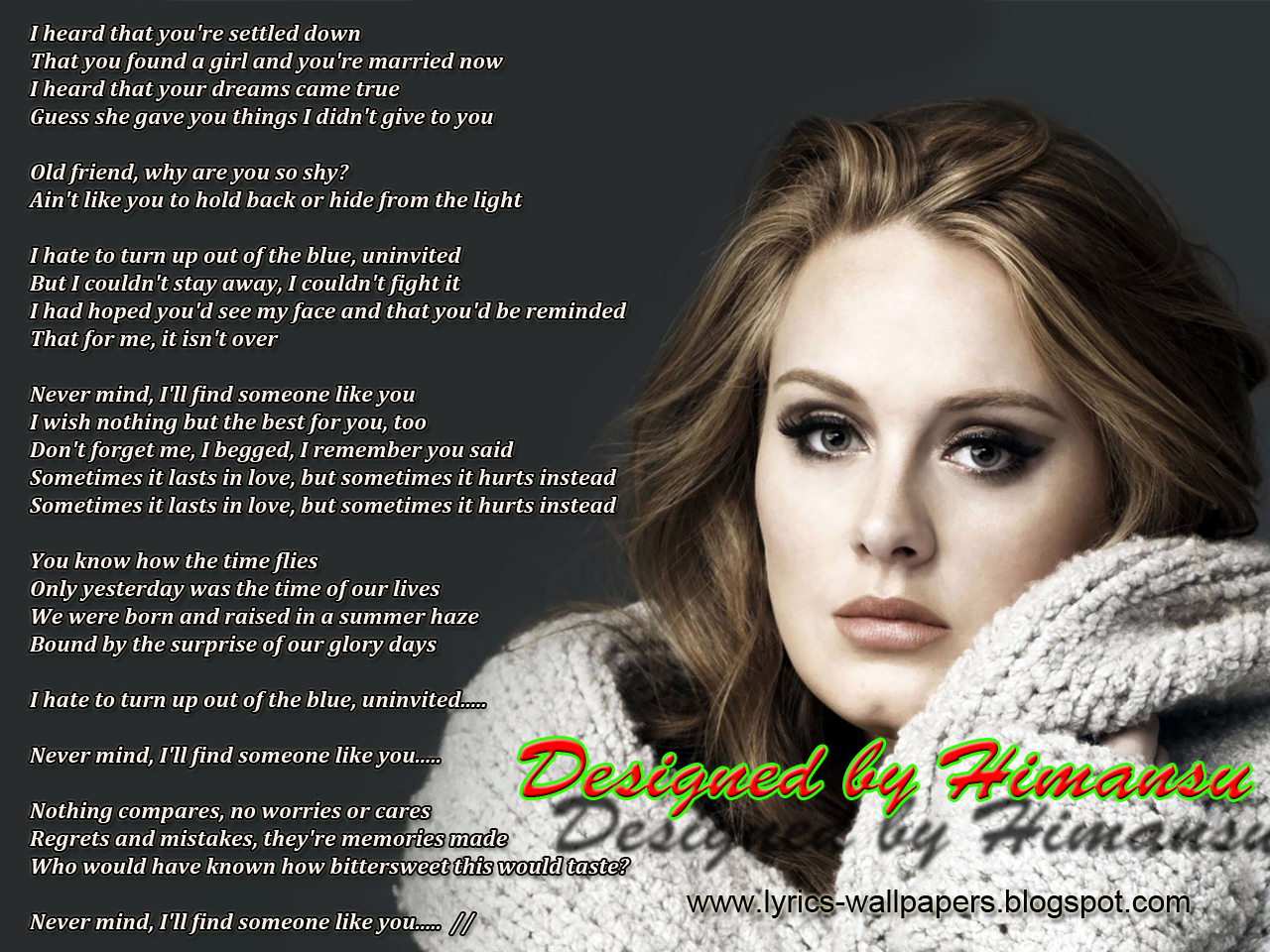 Lyrics Wallpapers: Adele - Someone Like You