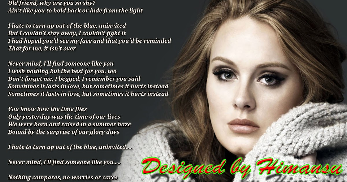 Lyric adele someone like you lyrics : Lyrics Wallpapers: Adele - Someone Like You