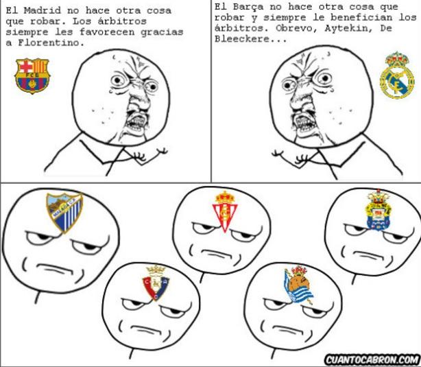 Real Madrid y Barcelona quejándose de los arbitrajes