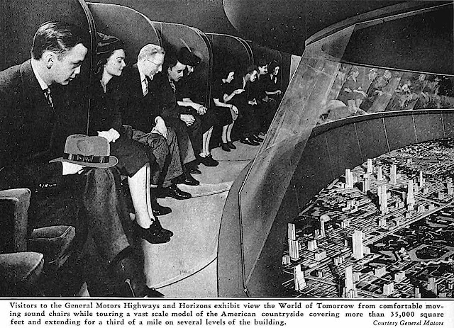 moving sound chairs at the 1939 New York Worlds Fair, looking down at 35,000 square feet of miniature models