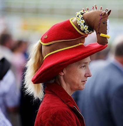 Woman wears a hat like horse