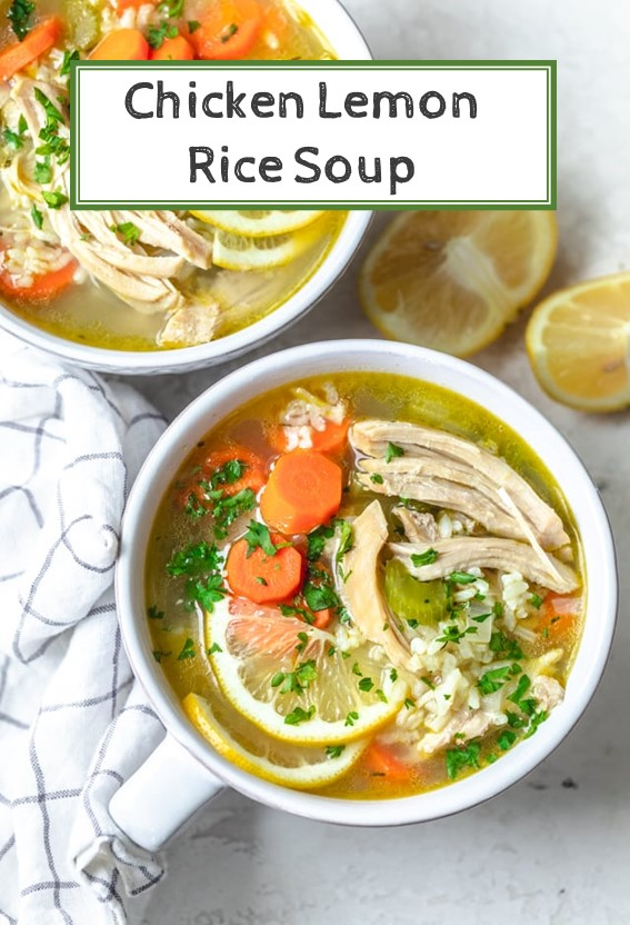 Chicken Lemon Rice Soup #Chicken #vegetable #Lemon #Rice #Soup