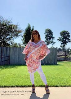 Sharon Sews wearing Vogue 1566 Claude Montana pullover top