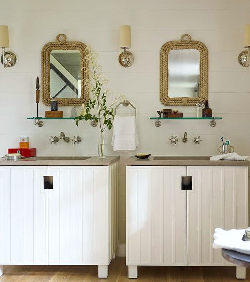 Set of Two Rope Bathroom Mirrors