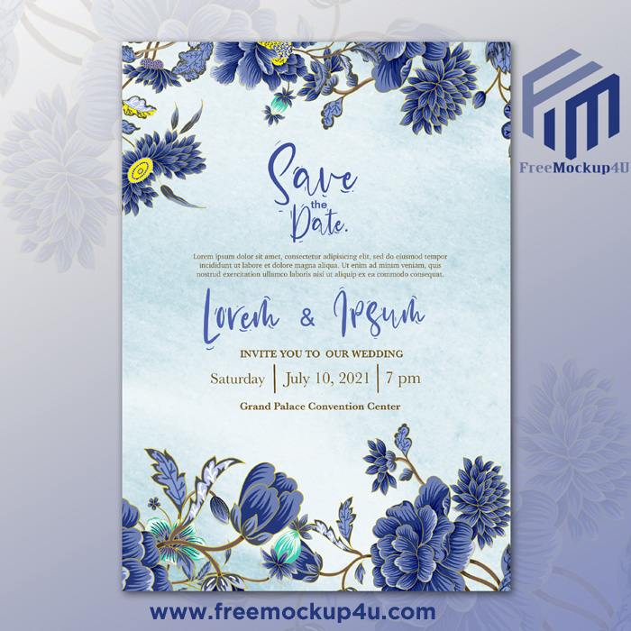 Beautiful Watercolor Wedding Template With Blue Flower