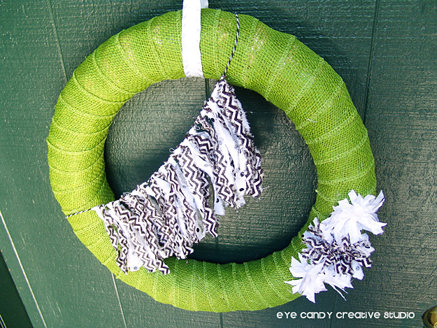 green burlap, black and white fabric bunting, chevron, fall wreath on door