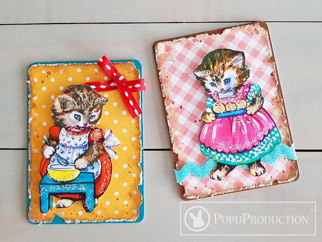 """Artist Trading Card """"Baker Kitty"""""""