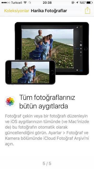 Resimlerinizi tüm Apple cihazlarında ayarlama özelliği