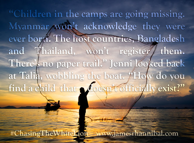 "Notable Quotable: ""Children in the camps are going missing. Myanmar won't acknowledge they were ever born. The host countries, Bangladesh and Thailand, won't register them. There's no paper trail."" Jenni looked back at Talia, wobbling the boat. ""How do you find a child that doesn't officially exist?"